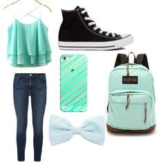Casual day of school/1st by snookums6057 on Polyvore featuring polyvore, fashion, style, Frame Denim, Converse, JanSport and Casetify