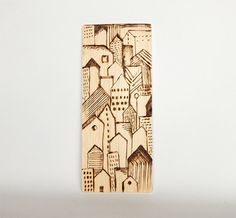 City pyrography. Wood burning decor. Modern graphic pyrography art. Burned wood wall decor. Light brown home decor.  Buildings art.