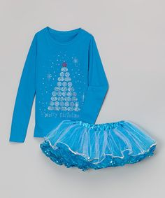 Another great find on #zulily! Blue 'Merry Christmas' Tee & Pettiskirt - Toddler & Girls #zulilyfinds