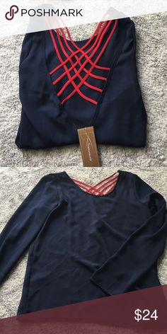 SALE! NWT Sheer navy long sleeve top Red crisscross back detail. Francesca's Collections Tops Blouses
