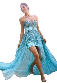 Terani Couture High Low Prom Gown 632, Aqua, 2 Terani