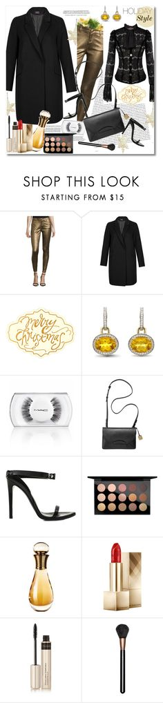 """Holiday style"" by vkmd on Polyvore featuring Oris, Bisou Bisou, M&S Collection, Whiteley, MAC Cosmetics, Skagen, Anthony Vaccarello, Christian Dior, Burberry and By Terry"