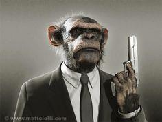 monkey with a gun.