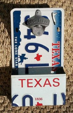 Cool idea for Matt's man cave- License Plate Bottle Opener w/ Catcher made from by PopArtPlates License Plate Crafts, Old License Plates, License Plate Art, License Plate Ideas, Metal Projects, Diy Projects To Try, Craft Projects, Man Cave Bar, Diy Décoration