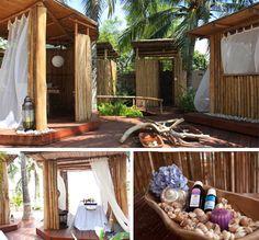 El spa de Karmairi está situado dentro de la zona social, donde camas de playa y cabinas de masaje están rodeadas de un paisaje rústico y se arrullan con el rugir del mar.