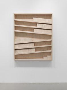 Wall installation, modern abstract art, wood,  Marc Ganzglass, DIY home decor idea