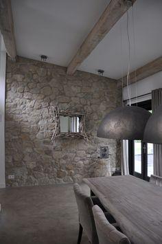 House Design, Stone Walls Interior, Stone Interior, Rustic Home Interiors, House Styles, Living Room Style, House Interior, Stone Houses, Rustic House