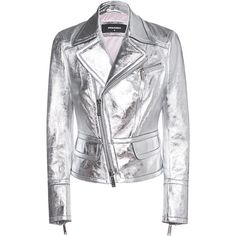 DSQUARED2 Shine Silver Leather // Leather jacket in metallic look ($875) ❤ liked on Polyvore featuring outerwear, jackets, silver leather jacket, asymmetrical leather jackets, genuine leather jackets, embellished leather jacket and crop leather jackets