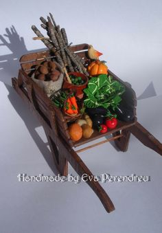 Miniature cart with vegetables with olives, pumpkin, cabagge - Harvest Market - 6 TIMES TREASURY ITEM. $47.90, via Etsy.