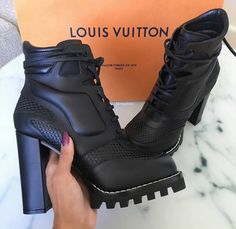 Shop Women's Louis Vuitton Black size Combat & Moto Boots at a discounted price at Poshmark. Heeled Boots, Bootie Boots, Shoe Boots, Shoes Heels, Shoe Bag, Lv Boots, Flat Shoes, Tom Shoes, Dream Shoes