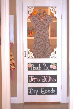 Love the screen door on the pantry, maybe put fabric behind screen so you can't see through