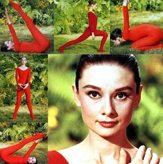 Audrey doing yoga on the set of Green Mansions, 1958, photographed by Bob Willoughby.