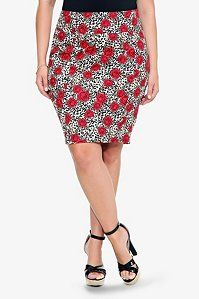 Retro Chic By Torrid - Leopard & Rose Pencil Skirt Internet exclusive! Flattering and iconic, the pencil skirt always looks sexy and sharp. A wild print combination of leopard and roses means you'll be stealing all the attention in the sleek skirt.