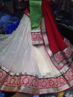 Off white chaniya sets on georget by Araina Fabs Mount Abu Indian Attire, Indian Outfits, Lehenga Designs Latest, Mount Abu, Indian Clothes, Salwar Kameez, Venus, Off White, Gowns