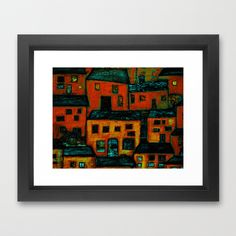 village Framed Art Print by agnes Trachet - $35.00