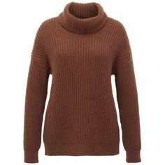 Hallhuber Brioche Stitch Roll-Neck Jumper ($135) ❤ liked on Polyvore featuring tops, sweaters, brown, women, jumpers sweaters, brown sweater, relaxed fit tops, jumper top and collared sweater