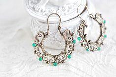 Brass wire wrapped  hoop earrings with emerald  boho