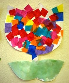 tissue paper tulip craft for preschoolers; found at Preschool Playbook