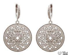Vintage Style Diamond Filigree Dangle Earrings available at Wheat Jewelers