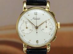 Minerva 13-20 18K gold chronograph rare vintage $3,563 #Minerva #watch #watches #chronograph yellowgold case leather case manual winding