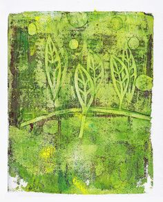this was a spooky result from a 'ghost' print. i added a tiny bit of yellow + white to 'clean' my plate and this is the result. -- Dudley Redhead: Gelli plate printing once more [no.10]
