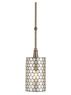 """As Seen on ABC's """"REVENGE"""" - The natural material, Capiz Shell, is used in combination with wrought iron finished in Cupertino to create this one light pendant. When the light shines through the natural Capiz Shell, it gives a pleasing warm glow to the sh Bronze Pendant, Drum Pendant, Shell Pendant, Mini Pendant, Pendant Lighting, Light Pendant, House Lighting, 60 Watt Light Bulb, Light Bulb Types"""