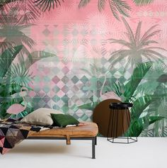 An EasyUp wallpaper with hand-painted, large-scale banana leaves and palms on a graphic Art-Deco pattern in pink and turquoise. Inspired by the Art-Deco style in Miami. Miami Art Deco, Art Deco Bar, Miami Wallpaper, Of Wallpaper, Art Deco Paintings, Art Deco Buildings, Art Deco Furniture, Decor Interior Design, Interior Ideas