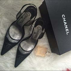 CHANEL CLASSIC SLINGBACKS % authentic! These chic mesh and satin slingbacks are a timeless wardrobe staple. Features 'CC' logo cut outs on vamps to reveal the mesh underneath. Satin toe caps and covered heels. Elasticized portion on back of straps for fit. Pointed toe and slightly tapered heels.a staple for any wardrobe! Have been loved, still have tons of life left! Shoe box is included. CHANEL Shoes Heels