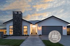 Show Home   Single Storey Home   Schist Cladding   Fireplace   White Render   RMB House of the Year Winner Storey Homes, White Houses, Cladding, Floor Plans, Layout, Fire, Flooring, Mansions, Architecture