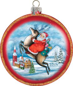 Christmas Ornament - Reindeer Rider - Scenic Hand-painted Old World Christmas Scene;  Vintage Holiday Ornament Free Personalized  (744-014R) by GDeBrekhtGallery on Etsy
