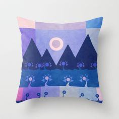 Geometric landscape Throw Pillow by Viviana González - $20.00