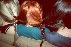 How interesting it would be if they braided the blond and black hair :)