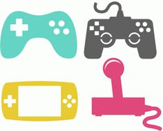 Silhouette Design Store - View Design #74208: four game controllers