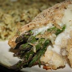 """Asparagus and Mozzarella Stuffed Chicken Breasts. Not as figure friendly as the TOH recipe I posted on my """"Gettin' Skinny"""" board, but this sure sounds delish!"""