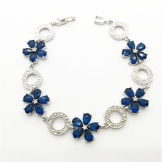 Stamped Sterling Silver Bracelet Montana Blue Tanzanite Sapphire White Topaz Jewelry