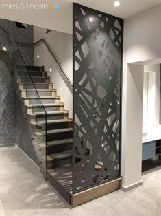 Laser cut framed screen - Private client - Miles and Lincoln - Laser Cut Screens Modern Stair Railing, Stair Railing Design, Modern Stairs, Stair Decor, Glass Railing, Living Room Partition Design, Room Partition Designs, Design Exterior, Home Interior Design