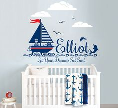 Nautical Themed Personalized Custom Name Vinyl Wall Decal Sticker for Nursery or…