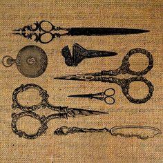 Antique Scissors Vignette Digital Image Download by Graphique, $1.00
