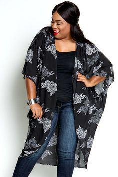 Plus Size Clothing for Women - Floral Lightweight Kimono by Sabrina Servance (One Size Fits 18 - - Society+ - Society Plus - Buy Online Now! Plus Size Womens Clothing, Plus Size Outfits, Size Clothing, Clothes For Women, Casual Outfits, Cute Outfits, Fashion Outfits, Kimono Fashion, Fashion Ideas