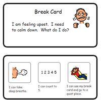 A visual schedule for calming down. Created by Matthew Summers.  Visual charts for school and home use.