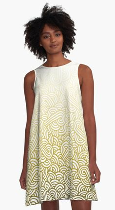 Gradient yellow and white swirls doodles A-Line Dress by @savousepate on @redbubble #pattern #abstract #modern #graphic #geometric #boho #ombre #yellow #goldenrod #honey #alinedress #dress #fashion #clothing #apparel
