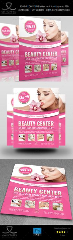 Beauty Center #Flyer Template - Flyers Print #Templates Download here: https://graphicriver.net/item/beauty-center-flyer-template/19483968?ref=alena994