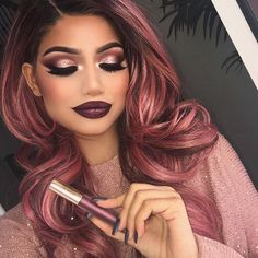 """Totally obsessed with this beautiful metallic liquid lipstick in """"underworld"""" by @gerardcosmetics! Its so gorgeous, I just had to do a look with it. Incase you didn't know, @gerardcosmetics is having a after Christmas sale where you can get 45% off your purchase if you use the code """"flashback"""". Happy shopping loves ♥ #gerardcosmetics #gclove"""