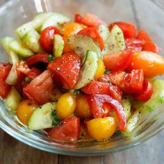 ,  Fresh cucumbers, tomatoes, and basil are drizzled with a simple balsamic and oil dressing to make this simple Cucumber Tomato Salad. Tossed together just before serving, or made a few hours in advance, this refreshing salad is perfect for a casual dinner night or for feeding a crowd at a potluck. Inspired by anRead More