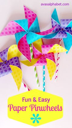 These fun and festive paper pinwheels are quick and easy to make in any color or pattern.  Perfect to add a pop of color to your decor or for party decorations!