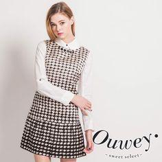 OUWEY歐薇 韓系美學千鳥格紋背心洋裝 特價$2,030