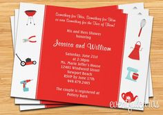 Couple Wedding Shower Invitation His and Hers by eventfulcards