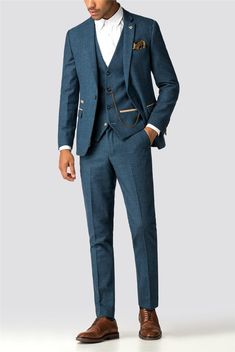 This Marc Darcy herringbone men's suit is a stylish three piece suit for formal occasions in a royal blue checked men's suit jacket, trousers and waistcoat. Blue Tweed Suit, Mens Tweed Suit, Blue Suit Men, Man In Suit, Suit For Men, Men's Blue Suits, Blue Suit Groom, Next Mens Suits, Mens Suit Colors