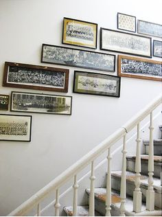 panoramic group photos gallery style on staircase wall. What a unique way to display vintage group photos. or a good way to showcase all those classroom photos from the family! How fun! Vintage Photographs, Vintage Photos, Antique Photos, Panoramic Pictures, Photo Displays, Display Photos, Display Ideas, Class Pictures, Vintage School