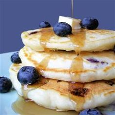 Favorite Blueberry pancake recipe. Only I add a dash of vanilla and I don't do the whole wait an hour part.  And add as many blueberries as you want. So yummy!